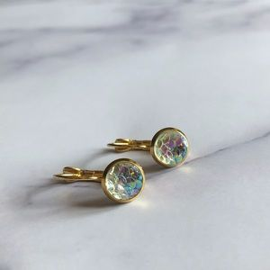 Transparent Mermaid Scale Gold Earrings!